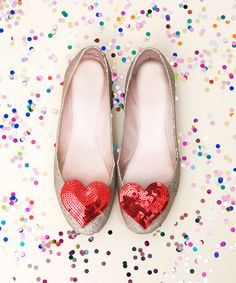 Bando: sequin heart shoe clips