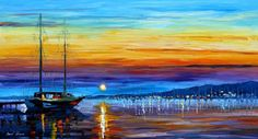 """Sunset over eternity - PALETTE KNIFE1 Oil Painting On Canvas By Leonid Afremov - Size: 36"""" x 20"""""""