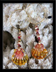 """Gold Hoop Sunrise Shell & Kahelelani Shells Earrings say """"Aloha""""  *;)"""