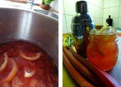 Cocktail med rabarber, lakrids og vanilje