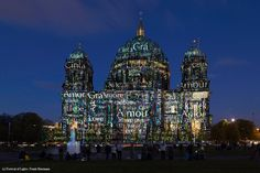 Artist: Nancy Burson . The #FestivalOfLights has invited ten #designers, #creatives and #artists to design the facade of the #BerlinCathedral under the motto #ColoursOfJoy.   #BerlinerDom #Berlin #Colours #Light