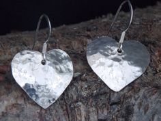 Large Sterling Silver hand cut heart earrings