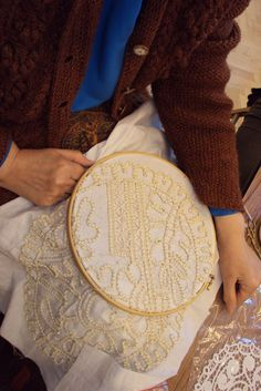 Romanian Point Lace made using an embroidery hoop technique