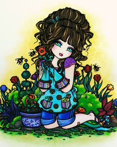 Not as popular among fans once again, but one of my favorites. I just love this piece, I love the little bees, and I love gardening myself...(when I have time lol!) Gardening Girl 8x10 Art Print Hannah Lynn by hannahlynnart on Etsy, $9.99
