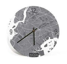 New York City, New York, Map Wall Clock-Customizable, Large Wall clock - ArtnWalls