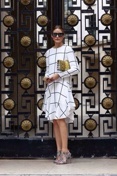 Olivia Palermo is wearing a grid print dress from Chloé, gold patterned bag from Nina Ricci, shoes from Brain Atwood and sunglasses from Westward Leaning #StreetStyle