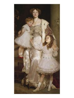 Portrait of Violet, Lady Melchett, with Her Two Daughters, the Hon. Mary and the Hon. Nora Mond ~ by Solomon Joseph Solomon
