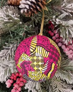 African Ankara Fabric Holiday Ornaments (Pink and Yellow)…great for Christmas or Kwanzaa Decorations Kwanzaa, Hannukah, Ball Ornaments, Holiday Ornaments, Christmas Bulbs, African Crafts, Printing On Fabric, Handmade Items, Pink
