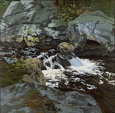 """Cascade,"" Neil Welliver, 1974, oil on canvas, 96 x 96"", Alexandre Gallery."