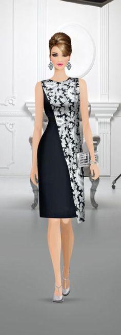 Vestido combinado - The most beautiful dresses and seasonal outfits Cute Dresses, Beautiful Dresses, Casual Dresses, Short Dresses, Bride Dresses, Hijab Fashion, Fashion Dresses, Covet Fashion, Womens Fashion