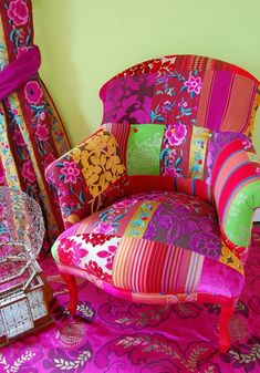 I am totally in love with the patchwork in bright colors on this chair.