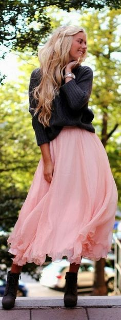 love this skirt, but I prefer to alternate fitted when wearing something slouchy or flowy.. Thus I would change to a more  fitted sweater.
