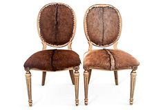 French oval back side chairs. Genuine leather, brand new goat hide upholstery