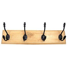 Four Cast Iron Acorn Hooks Wooden Coat Rack Hook