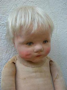 Alte Käthe Kathe Kruse Puppe Du Mein, Stoffkopf, Perücke, ca 50cm | eBay