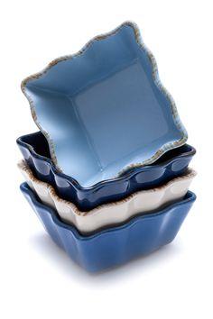 Prima Design | Cream/Cobalt Individual Bakers | Sponsored by Nordstrom Rack.