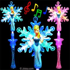 """FLASHING PRINCESS SNOWFLAKE WANDS. This adorable light up wand has 2 controls- a switch to turn on the sound of tinkling bells and a button to turn on the flashing lights and control the 3 light settings. 3 """"AA"""" batteries included. Assorted colors. Perfect for party favors and dress up. Size 18 Inches"""