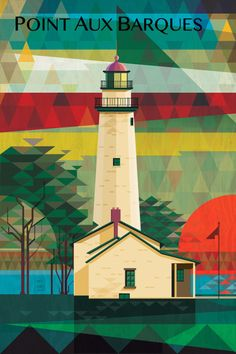 Point Aux Barques Lighthouse at Sunrise. This popular lighthouse sits at the top of the thumb in Michigan's lower peninsula. A beautiful point close to Table Rock on the lakeshore. Graphic Design Illustration, Illustration Art, Lighthouse Art, Detroit Area, Word Play, City Art, Michigan, Digital Art, Art Prints