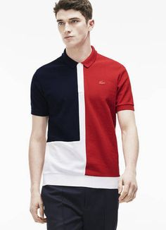 Lacoste France Fashion show zippered polo in color block noppe piqué Shirt Logo Design, Polo Shirt Design, Polo Design, Shirt Designs, Mens Polo T Shirts, Polo Tees, Chemise Fashion, Le Polo, Cheer Shirts