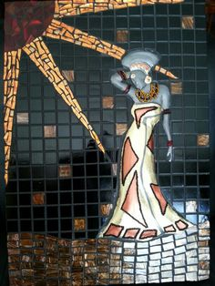 Mosaic & pewter african lady