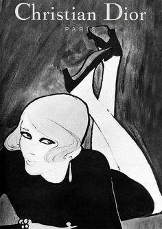 hoodoothatvoodoo:        Christian Dior 1967        Illustration by Rene Gruau