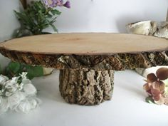 Small Rustic Oval Cake Stand Wood Cake Platter for Outdoor Weddings, Rustic Parties, Green Brides, Wedding Decor