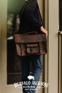 Men's vintage full grain brown leather bags. Handcrafted to handle whatever - work, travel, or adventure. Messenger bags, briefcase bags, duffle bags, camera bags, and dopp kits. Rugged fashion and real craftsmanship for the win. Great gift ideas for men who appreciate quality and style. Leather Briefcase, Men's Leather, Leather Satchel, Brown Leather, Duffle Bags, Messenger Bags, Rugged Fashion, Casual Professional, Waxed Canvas Bag