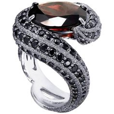 Garnet Black Spinel Blackened Gold Twist Textured Ring Handmade in NYC | From a unique collection of vintage cocktail rings at https://www.1stdibs.com/jewelry/rings/cocktail-rings/