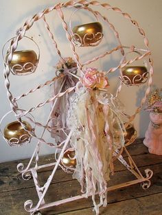 Pink Ferris wheel decor accented gold large by AnitaSperoDesign