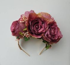 Spring Racing Floral Headband Toffee Roses with Berries
