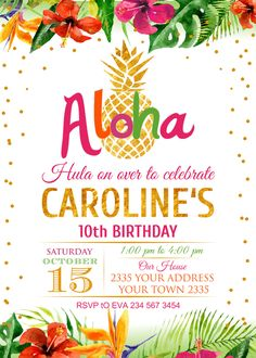 Items similar to Pineapple Birthday Invitation. Tropical Bridal Showers, Tropical Party, Aloha Party, Luau Party, Flamingo Party, Luau Birthday, 10th Birthday, Hawaiian Theme, Kids Party Themes