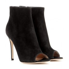 Gianvito Rossi Suede Peep-Toe Ankle Boots ($795) ❤ liked on Polyvore featuring shoes, boots, ankle booties, heels, ankle boots, black, black booties, peep toe bootie, black suede boots and black suede bootie