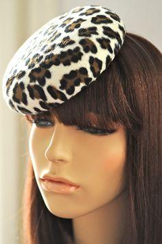 Leopard Print Cocktail Hat Hand Blocked Felt by LiDDesignsBoutique, $130.00