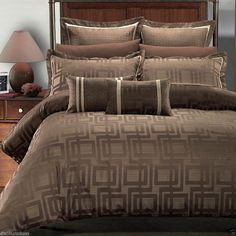 7pc Royal Hotel Collection Brown Geometric Duvet Cover Bedding Set Janet #RoyalHotelCollection #Modern