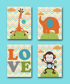 Gray Orange Green Giraffe Instant Download Digital Printable Art Digital Download Nursery Baby Boy Nursery Art Print set of 4 8x10 11X14 by nataeradownload on Etsy