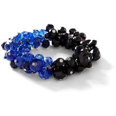 Blue/Black Colorblock Stretch Bracelet ($44) ❤ liked on Polyvore