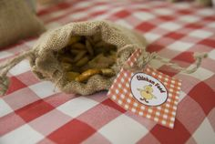 Trail mix served in small burlap bags.