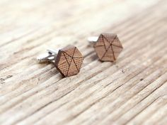 Geometric cufflinks, walnut wood. 5th year anniversary gift, laser cut wedding cufflinks