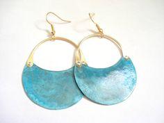 Handmade Metalwork Earrings-Blue Green Patina Earrings-Unique Mixed metal Earrings-Copper Patina Earrings-Turquoise Earrings