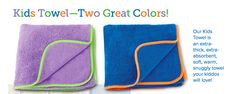 More new products from the upcoming 2017 catalog...Kids Towels.  The Kids Towels are constructed of super-soft Norwex antibacterial Microfiber containing our exclusive BacLock® agent. • Plush, extra-high pile provides extra absorbency. • Perfect for the tender skin of babies and children. • Quick-drying, warm and cozy. • Comes in two bright colors kids of all ages will love.  www.tonyaandrews.norwex.biz