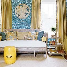 Chartreuse silk curtains with tassel trim, blue and white walls, yellow garden stool, daybed - Fiona Newell Weeks from Southern Living Style. House Of Turquoise, A Lovely Journey, Houston, Tassel Curtains, Silk Drapes, Ceramic Garden Stools, Ceramic Stool, Yellow Curtains, Transitional Living Rooms
