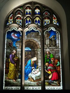 Description: Cambridge, England: Peterhouse: chapel stained glass window, Birth of Jesus (1850s, overall design by Max Emanuel Ainmiller, figures largely work of Claudius Schraudolph and Heinrich von Hess, Royal School of Glass Painting, Munich)