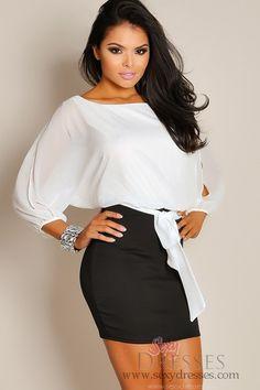 5d97c5995d3 Sheer Oversized White Top with Black Skirt Formal Dress