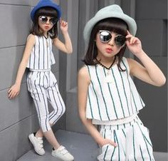 Girls clothing sets 2019 summer fashion striped vest T-shirt pants two pieces kids tracksuit children clothing set kids clothes. Little Girl Fashion, Fashion Kids, Fashion Outfits, Cheap Fashion, Suit Fashion, Dresses Kids Girl, Kids Outfits, Outfit Sets, Clothing Sets