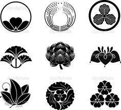 Illustration about Japanese Family Crests ( illustration). Illustration of ginkgo, plant, black - 19250910 Japanese Patterns, Chinese Patterns, Japanese Design, Japanese Art, Japanese Lotus, Japan Logo, Samourai Tattoo, Design Art, Graphic Design