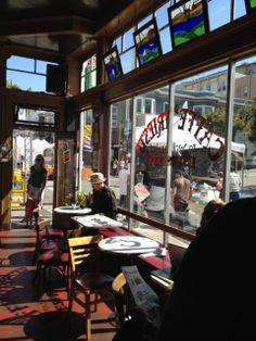 Caffe Trieste in San Francisco, 609 Vallejo St., first espresso coffee bar in SF (50's), old school SF, where Francis Ford Coppola wrote the first draft of The Godfather, Pavarotti sang here, Recommended: Africano, chai latte, cheesecake, any esspreso drink