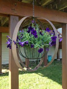 Wine barrel rings and hanging plant Garden Junk, Garden Yard Ideas, Garden Art, Wine Barrel Crafts, Wine Barrel Rings, Wine Barrels, Wine Barrel Planter, Metal Yard Art, Metal Art