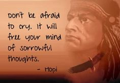 don't be afraid to cry ... it will free your mind of sorrowful thoughts ~ Hopi