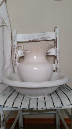 Antique Ironstone Wash Bowl & Pitcher