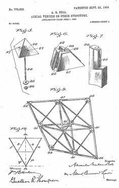 Patent illustration for Alexander Graham Bell's Tetrahedron Kite. Kite Building, Building Sketch, Kite Designs, Alexander Graham Bell, Kite Flying, Weaving Art, Illustration Sketches, Geometry, Diagram